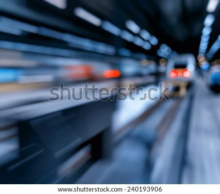Rushing train abstraction bokeh - stock photo