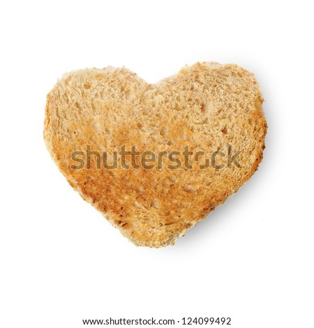 Rusk bread in the form of a heart isolated on a white background - stock photo