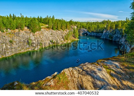 Ruskeala National Park, Marble Canyon in Northern Region of Karelia in Russia - stock photo