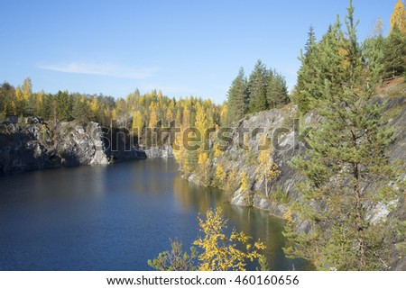 "RUSKEALA, RUSSIA - OCTOBER 05, 2013: Views of Marble canyon in the fall. Mountain Park ""Ruskeala"""