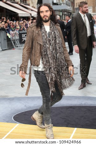 Russell Brand arriving for the Rock Of Ages Premiere, Odeon Leicester Square, London. 10/06/2012 Picture by: Alexandra Glen / Featureflash - stock photo