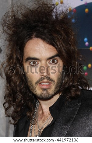 Russell Brand at the Los Angeles premiere of 'Bedtime Stories' held at the El Capitan Theater in Hollywood, USA on December 18, 2008. - stock photo