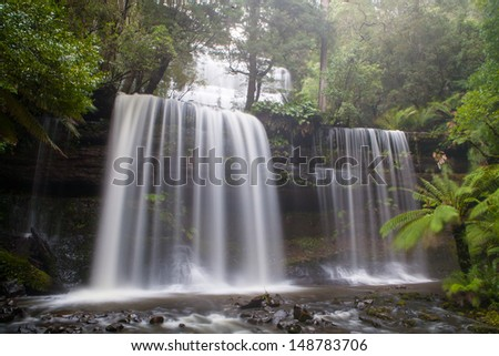 Russell Falls in Mt Field National Park on a cold winter's morning in Tasmania, Australia - stock photo