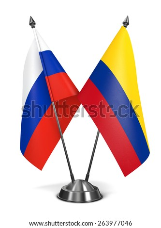 Russia and Colombia - Miniature Flags Isolated on White Background. - stock photo