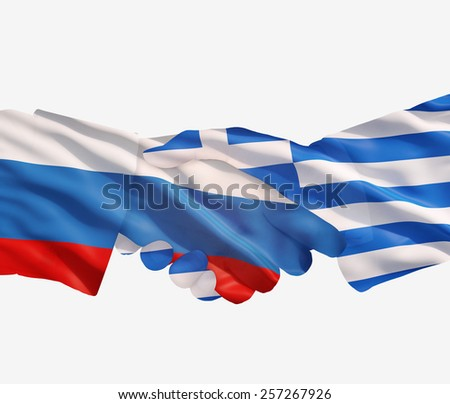 russia and Greece  flags with a handshake on a white background - stock photo