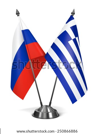 Russia and Greece - Miniature Flags Isolated on White Background. - stock photo