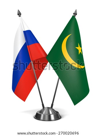 Russia and Mauritania - Miniature Flags Isolated on White Background. - stock photo