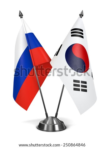 Russia and South Korea - Miniature Flags Isolated on White Background. - stock photo