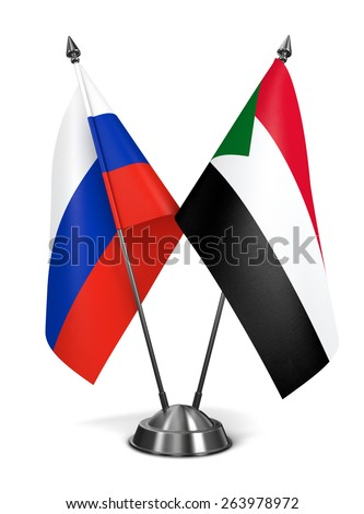 Russia and Sudan - Miniature Flags Isolated on White Background. - stock photo