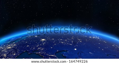 Russia and Ukraine city lights map. Elements of this image furnished by NASA - stock photo