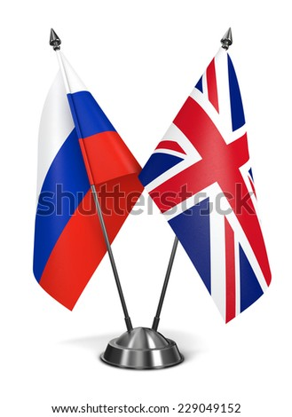 Russia and United Kingdom of Great Britain - Miniature Flags Isolated on White Background. - stock photo
