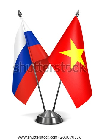 Russia and Vietnam - Miniature Flags Isolated on White Background. - stock photo