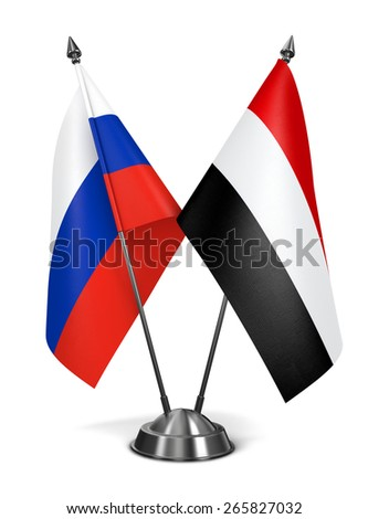 Russia and Yemen - Miniature Flags Isolated on White Background. - stock photo