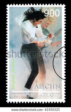 RUSSIA - CIRCA 2005: A postage stamp printed in Russia showing Michael Jackson, circa 2005 - stock photo