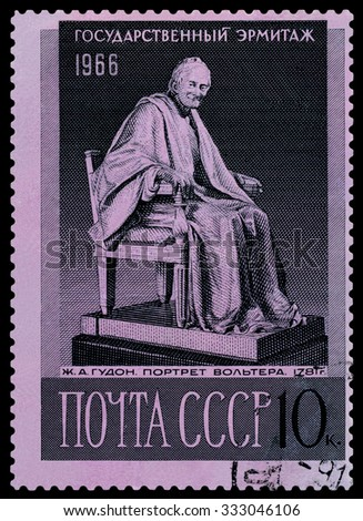 RUSSIA -CIRCA 1966: a stamp printed by Russia shows  image  Statue of Voltaire by Jean Antoine Houdon. Hermitage Museum, series, circa 1966 - stock photo