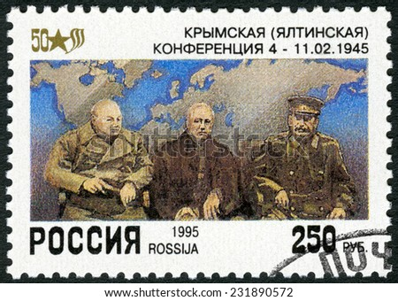 RUSSIA - CIRCA 1995: A stamp printed in Russia shows Churchill, Roosevelt, Stalin at Yalta, devoted End World War II, 50th Anniversary, circa 1995 - stock photo