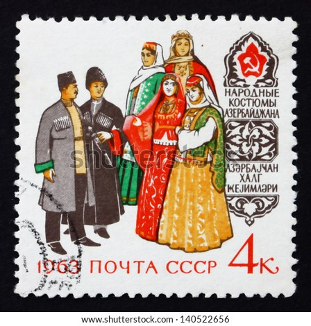 RUSSIA - CIRCA 1963: a stamp printed in the Russia shows Azerbaijan Costumes, Regional Costumes, circa 1963 - stock photo