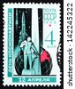 RUSSIA - CIRCA 1965: a stamp printed in the Russia shows Konstantin Tsiolkovsky Monument, Kaluga, Globe and Rockets, Rocket Scientist, circa 1965 - stock photo