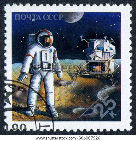 RUSSIA - CIRCA 1989: stamp printed by Russia, shows astronaut, spaceship, space, circa 1989 - stock photo