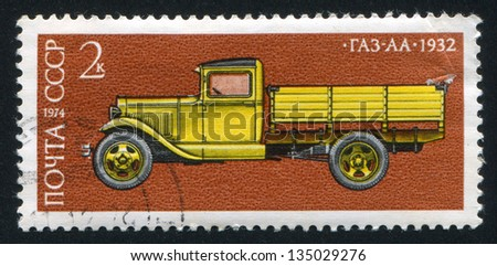 RUSSIA - CIRCA 1974: stamp printed by Russia, shows GAZ AA truck, 1932, circa 1974 - stock photo