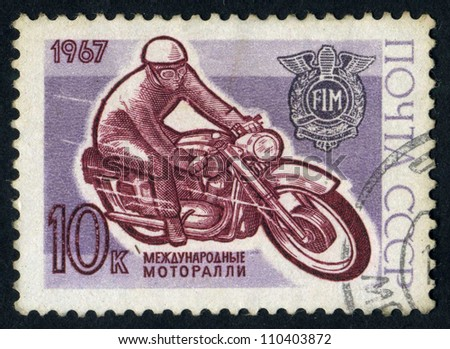 RUSSIA - CIRCA 1967: stamp printed by Russia, shows motorcycle  and racer, circa 1967