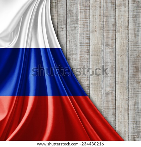Russia flag and  wood background - stock photo