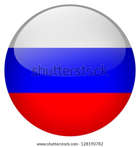 Russia flag button - stock photo
