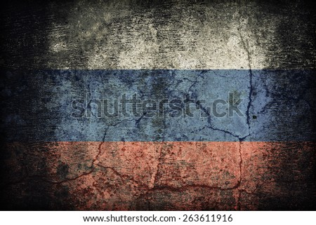 Russia flag pattern on dirty old concrete wall texture ,retro vintage style - stock photo