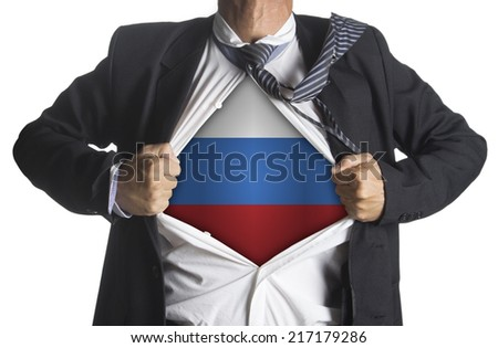 Russia Flag with businessman showing a superhero suit underneath his suit, isolated on white background - stock photo