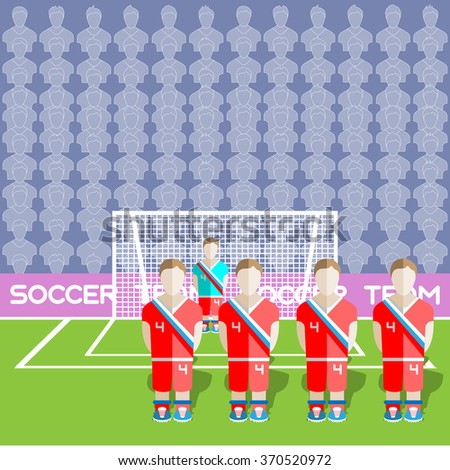 Russia Football Club Soccer Players Silhouettes. Computer game Soccer team players big set. Sports infographic. Football Teams in Flat Style. Goalkeeper Standing in a Goal. Raster illustration. - stock photo