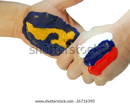 Russia hold America under control - stock photo