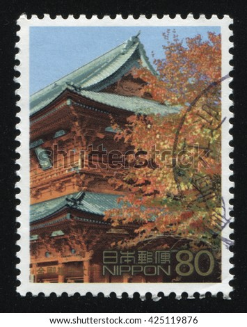RUSSIA KALININGRAD, 22 APRIL 2016: stamp printed by Japan shows architecture, circa 2012
