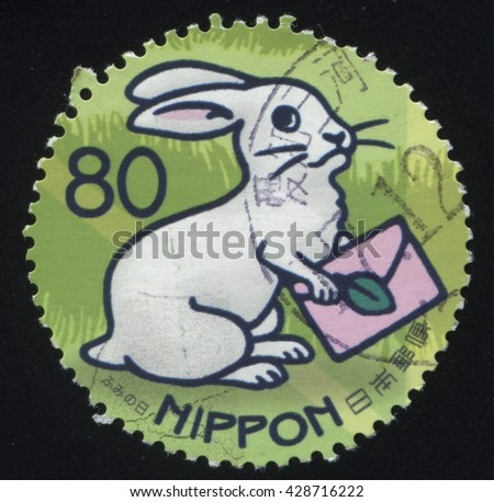 RUSSIA KALININGRAD, 22 APRIL 2016: stamp printed by Japan shows rabbit, circa 2012