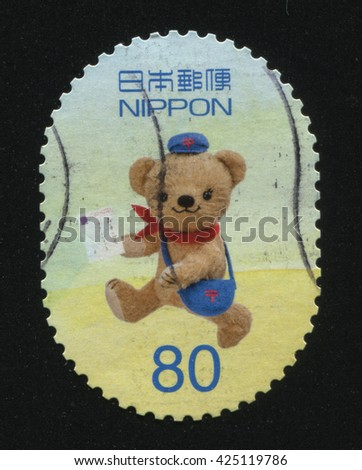RUSSIA KALININGRAD, 22 APRIL 2016: stamp printed by Japan shows Teddy bear, circa 2012 - stock photo