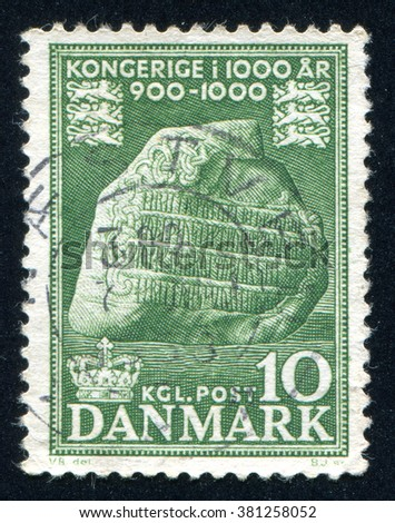 RUSSIA KALININGRAD, 4 JANUARY 2014: stamp printed by Denmark, shows Jelling Runic Stone, circa 1956
