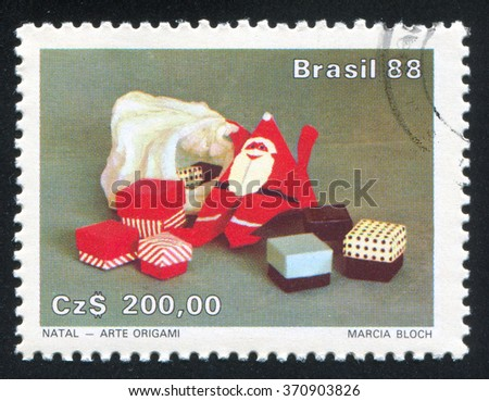 RUSSIA KALININGRAD, 26 JULY 2014: stamp printed by Brazil, shows  Origami Santa Claus, circa 1988 - stock photo
