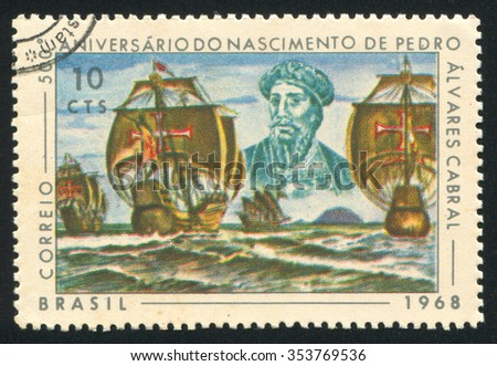 RUSSIA KALININGRAD, 24 JULY 2014: stamp printed by Brazil, shows  Pedro Alvares Cabral and his Fleet, circa 1968 - stock photo