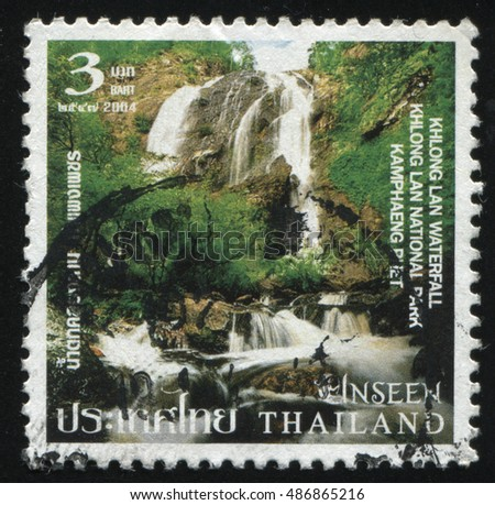 RUSSIA KALININGRAD, 4 JUNE 2016: stamp printed by Thailand, shows Khlong Lan Waterfall at Khlong Lan National Park, circa 2004