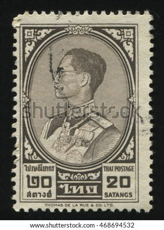 RUSSIA KALININGRAD, 3 JUNE 2016: stamp printed by Thailand shows king Bhumibol Adulyadej, circa 1961