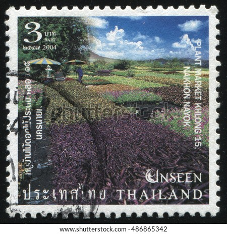RUSSIA KALININGRAD, 3 JUNE 2016: stamp printed by Thailand, shows park and plantations of different grass, circa 2004