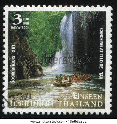 RUSSIA KALININGRAD, 4 JUNE 2016: stamp printed by Thailand, shows people, canoeing at At Ti Lo Re Tak, circa 2004