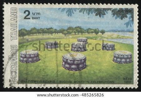 RUSSIA KALININGRAD, 2 JUNE 2016: stamp printed by Thailand, shows wells in valley near the river, circa 1988