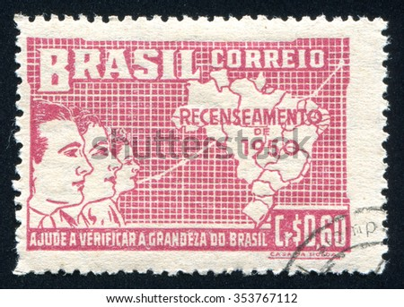 RUSSIA KALININGRAD, 23 MARCH 2014: stamp printed by Brazil, shows  Symbolical of Brazilian Population Growth, circa 1950 - stock photo