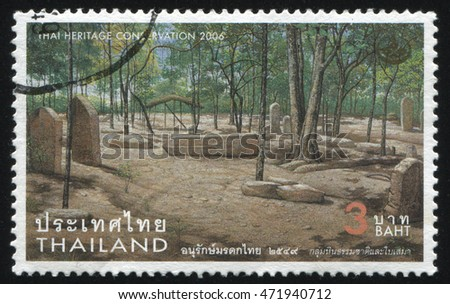 RUSSIA KALININGRAD, 31 MAY 2016: stamp printed by Thailand, shows monuments and graves in the forest, dedicated to heritage conservation, circa 2006