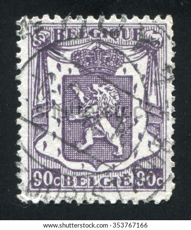 RUSSIA KALININGRAD, 20 OCTOBER 2015: stamp printed by Belgium, shows Coat of Arms, circa 1935 - stock photo