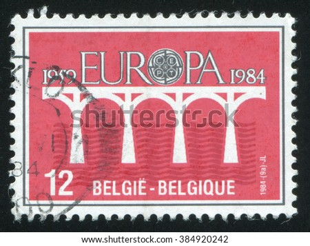 RUSSIA KALININGRAD, 19 OCTOBER 2015: stamp printed by Belgium, shows Europa, circa 1984