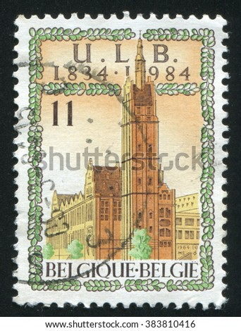 RUSSIA KALININGRAD, 19 OCTOBER 2015: stamp printed by Belgium, shows Free University of Brussels, circa 1984