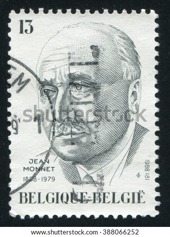 RUSSIA KALININGRAD, 20 OCTOBER 2015: stamp printed by Belgium, shows Jean Monnet French Economist, circa 1988 - stock photo