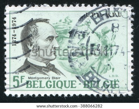 RUSSIA KALININGRAD, 19 OCTOBER 2015: stamp printed by Belgium, shows Montgomery Blair, UPU Emblem, circa 1974 - stock photo