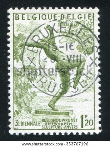 RUSSIA KALININGRAD, 20 OCTOBER 2015: stamp printed by Belgium, shows The Foolish Virgin by Rik Wouters, circa 1955 - stock photo